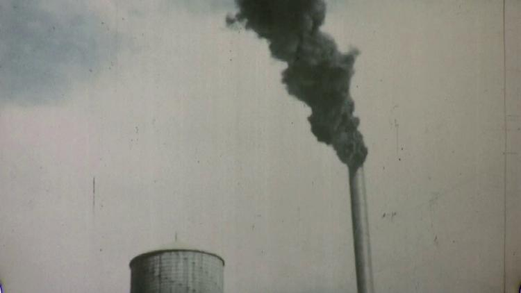 factory smokestack smoke pollution climate change 1940s vintage movie film 1768 suyny7 x F0007