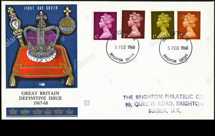 post office first day cover of 1967 68 definitive issue 6d 2d 1d d DBTJR1