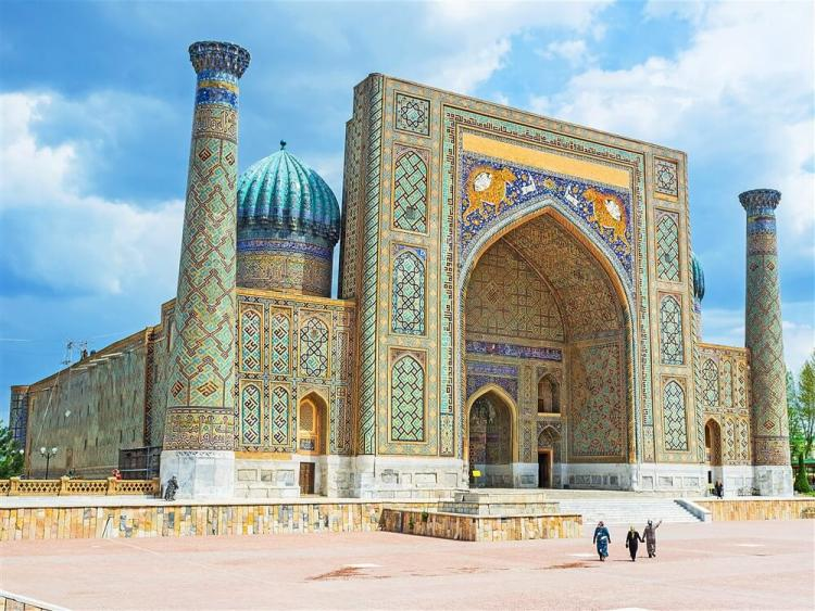 Day 3 Uzbekistan Samarkand The Registan Square one madrasa ST